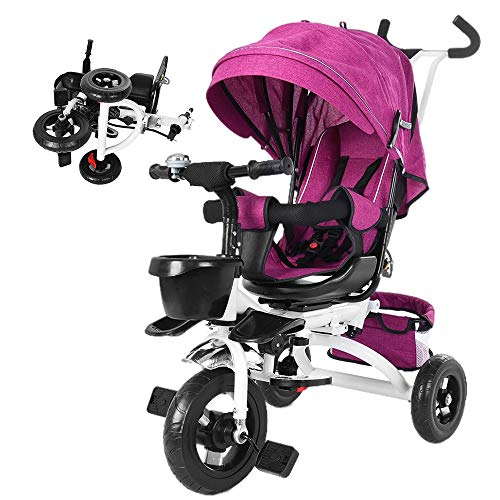 5-in-1 Tricycle for Toddlers Kids w/Canopy,Foldable Double Brake Stroll Trike Steer Stroller,Learning Bike,Push Trike,Gift for Baby Girls Boys Age 10 Months to 5 Years Old (Purple)