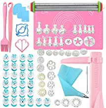 JZ 74Pcs Cake Decorating Supplies Kit with Baking Supplies,Stainless Steel Rolling Pin with Thickness Rings and Pastry Mat Set,Printing and Letter Molds,Other Easy Cake Decorating Kit for Beginner