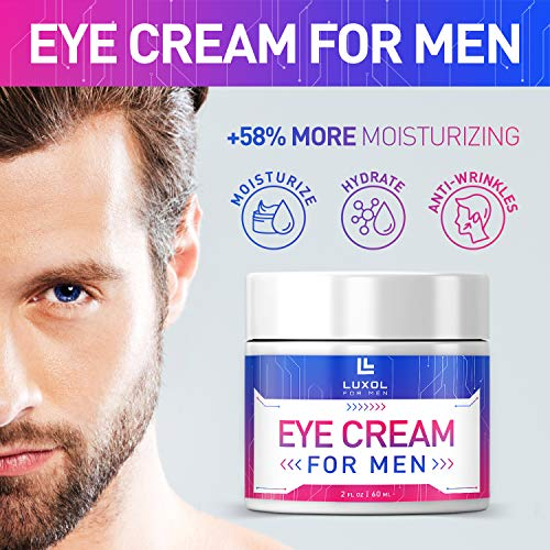 511TOcHZbIL - Eye Cream for Men, Natural and Organic Anti Aging Eye Cream To Reduce Puffiness, Wrinkles, Dark Circles, Crows Feet and Under Eye Bags 2oz by LUXOL