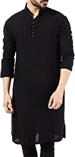 keepwo Men's Stand Collar Robe Long Sleeve Cotton Dress Priest Prayer Gown