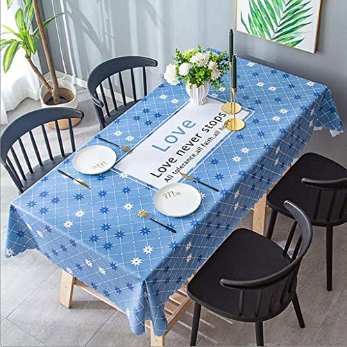 GJHBFUK - Mantel de PVC para el hogar, impermeable, rectangular, antiquemaduras y aceites para comedor, mesa de escritorio, pvc, azul, 120 x 170 cm