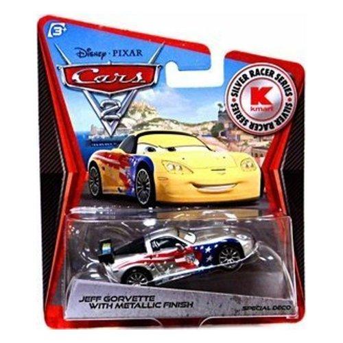 Disney Pixar CARS 2 Exclusive 1:55 Die Cast Car SILVER RACER Jeff Gorvette With Metallic Finish - Véhicule Miniature - Voiture