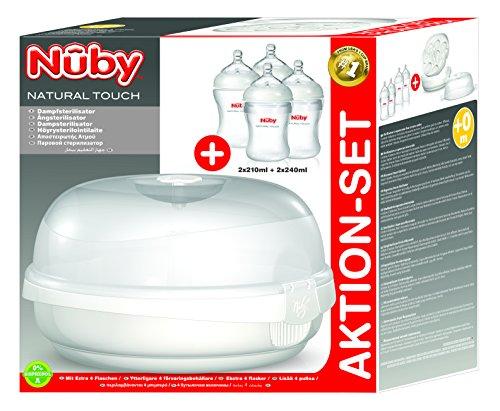Nuby NTVP30 Natural Touch Mikrowellen-Sterilisator aus PP inkl. 2x Silikonflasche 210ml / 2x PP Flasche 240ml, Weiß