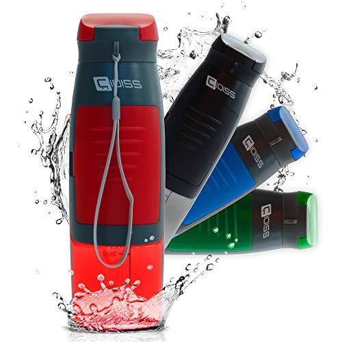 Cioss - Botella de agua con bolsillo portaobjetos de plástico sin bisfenol A, transparente para niños, gimnasio, bicicleta, deportes, oficina, viaje o como regalo