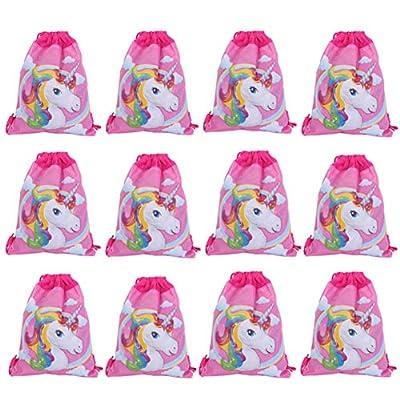 Lote de 12 Mochilas Petates Infantiles Niñas Unicornios - Bolsas Escolares Infantiles Petates Ideales para Detalles de Bodas, Comuniones y Fiestas de Cumpleaños Niñas y Niños