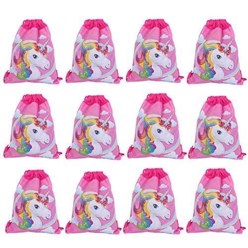 Lote de 12 Mochilas Infantiles Niñas Unicornios - Bolsas Escolares Infantiles Petates Ideales para Detalles de Bodas, Comuniones y Fiestas de Cumpleaños