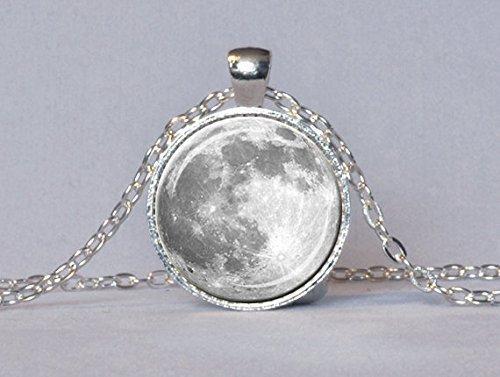 Luna Llena collar luna llena colgante lunar collar colgante planeta joyas astronomía ciencia Jewelry astrólogo regalo blanco gris