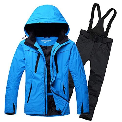 Outdoor Ski Wear heren pak winddicht waterdicht warm ademend fineer snowboard broek geschikt voor skijacht vissen blauwe jas + zwarte broek