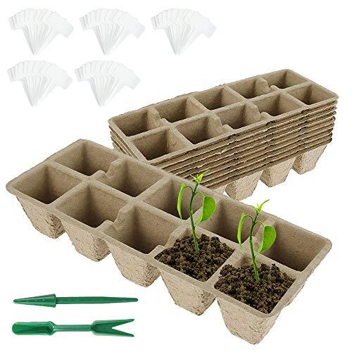 10 bandejas para plantas, macetas biodegradables, contenedores degradables de jardín, accesorios de jardinería, macetas turba para siembra, germinación de hortalizas, 26 x 10 x 5 cm