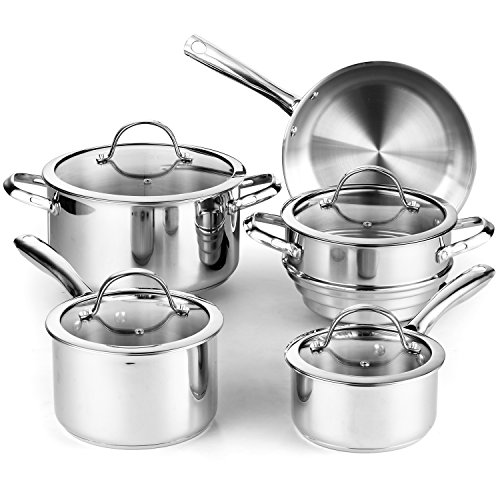 in budget affordable Cook a standard 9 piece stainless steel cookware set