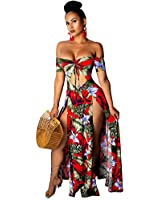 Women Sexy Floral Maxi Dresses - Off Shoulder High Slit Summer Long Dress Red 2XL