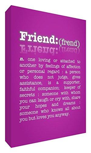 Feel Good Art De betekenis van vriendschap galerie verpakt doos canvas, het solide front paneel (40 x 30 x 4 cm, middelgroot, hot pink)