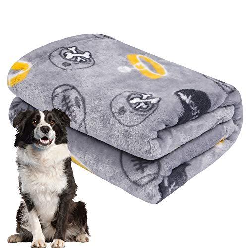 softan Hundedecke Flauschig, Decke für Groß Hündchen, Weiche und Warme Flanellfleece, 100x120cm, Grau