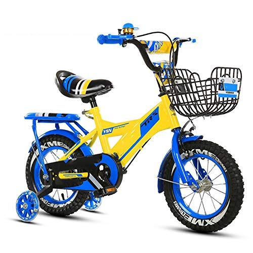 YumEIGE kinderfiets fiets kind slijtvaste banden met achterbank, meisjesfiets 12 14 16 18 inch, koolstofstalen frame, gebruikt voor 2-9 jaar oud