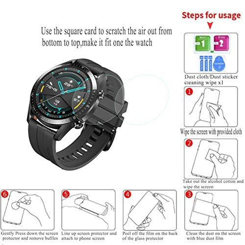 Hotbon Panzerglas Schutzfolie kompatibel mit Huawei Watch GT 2 46mm, [3 Stück] Huawei Watch GT 2 46mm Nicht Panzerglas Folie Schutzfolie [Vollständige Abdeckung] [Blasenfreie] HD klar Flexible Folie - 6