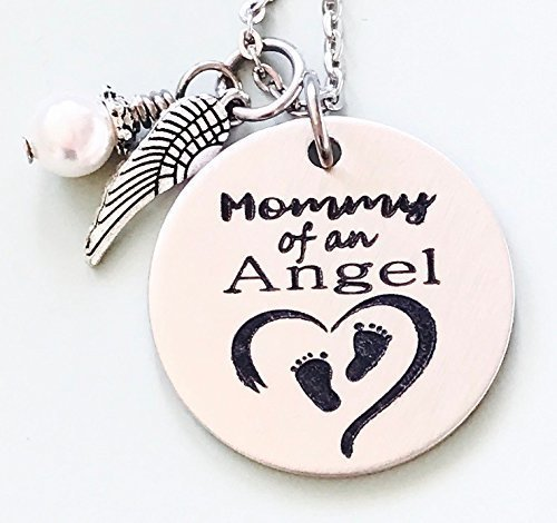 Mommy of an Angel Engraved Memorial Necklace with Simulated Pearl by Dots of Sugar