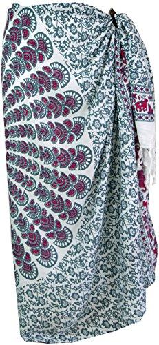 Guru-Shop Bali Sarong, Wandbehang, Wickelrock, Sarongkleid, Herren/Damen, Weiß/grau, Synthetisch, Size:One Size, 160x115 cm, Sarongs, Strandtücher Alternative Bekleidung