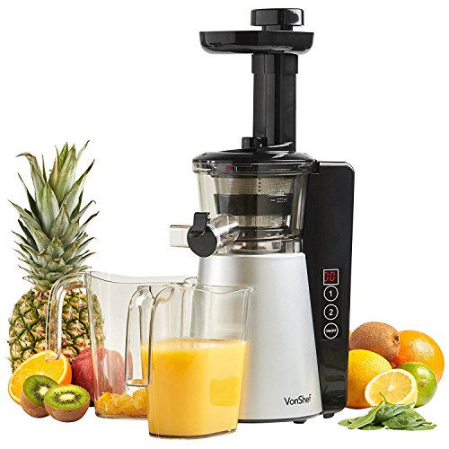 VonShef Digital Slow Masticating Juicer Machine with 2 Speeds, Reverse Function, Quiet Motor & Cleaning Brush