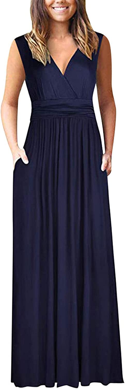 Summer Dress for Women's Casual Sleeveless V-Neck Long Slim Dress Solid Color Pleated Maxi Tank Dress with Pockets