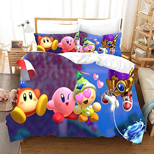 Duvet Cover Sets 3D Kirby Printing Cartoon Bedding Set With Zipper Closure 100% Polyester Gift Duvet Cover 3 Pieces Set With 2 Pillowcases I-US Twin68'*86'(172 * 218cm)
