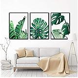 Cuadros nórdicos de pintura de lienzo cuadros de hojas de plátano de palma tropical en lienzo y póster decoración de arte de pared en casa- 40x60cmx3 sin marco