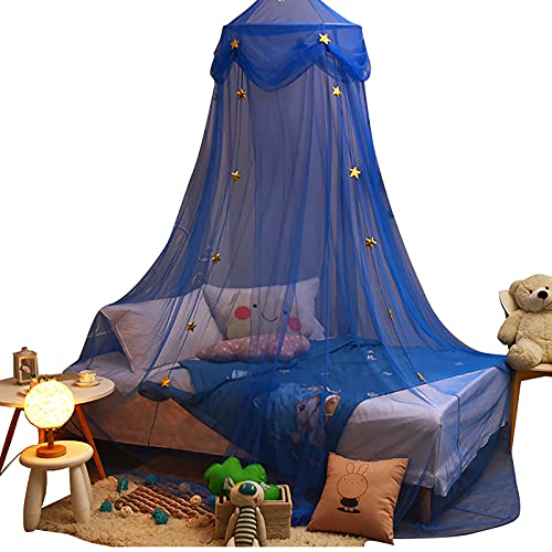 Blan Cortina de cama Dream Star Dome Mosquitera para niños, cortina de cama, soporte libre, instalación redonda europea