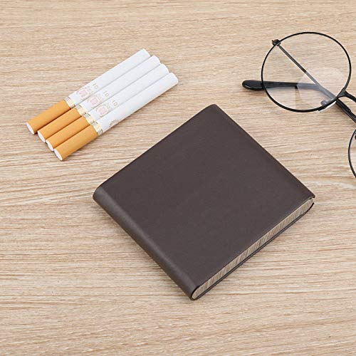 Emoshayoga Diseño de Broche magnético multifunción con Cuero de PU Organizador de Almacenamiento de Cigarrillos ultradelgado Bien Protegido para 10 Cigarrillos de tamaño(Brown)