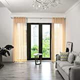 BOYOUTH Cortinas transparentes a cuadros, cortinas de gasa con ojales superiores para dormitorio, sala de estar, hotel, beige, 2 paneles, 91 x 306 cm