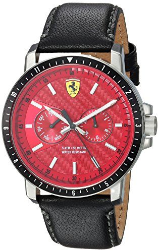 Ferrari Men's Turbo Stainless Steel Quartz Watch with Leather Strap, Black, 22 (Model: 830449)