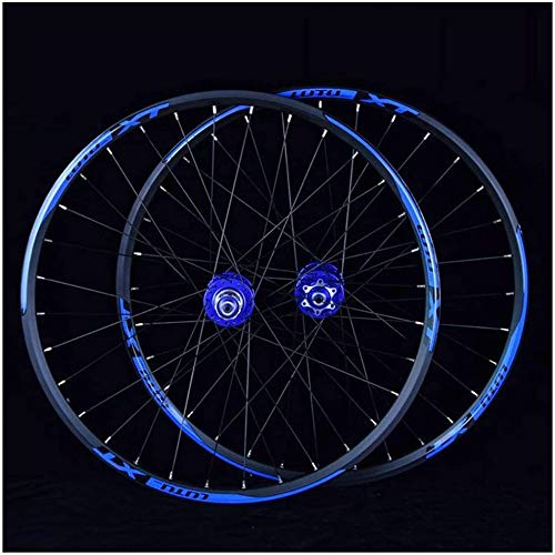 LIMQ MTB Bike Wheelset 26 27.5 29 In Mountain Bike Bike Doble Capa Cojinete Sellado con Borde De Aluminio 7-11 Velocidad Cassette Hub Freno De Disco 1100g QR 24h,Blue-27.5inch