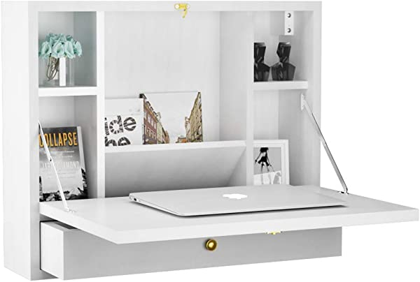 TANGKULA Wall Mounted Table Multi Function Wall Mount Laptop Desk Writing Desk Home Office Computer Desk With Large Storage Area Wall Desk White
