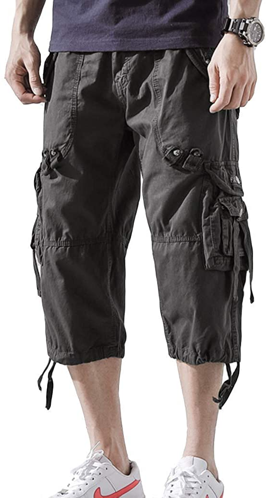 AOYOG Men's Cargo Shorts 3/4 Relaxed Fit Below Knee Capri Cargo Pants Cotton