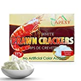 APEXY Authentic Prawn Crackers Uncooked, Crispy and Delicious Shrimp Chips for Party Appetizers and Snacks, Cook and Serve, 8 oz (227g), White Color ( No Artificial Color Added )