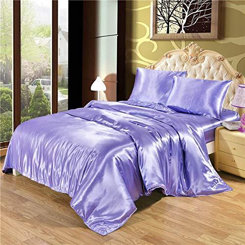 Bocotous Juego De Sabanas,Solid Satin Silk Bedding Set Duvet Cover Sheet Bed France American Australia Japan Bedding and European Size King Queen,Double(3Pcs) 200 * 200Cm