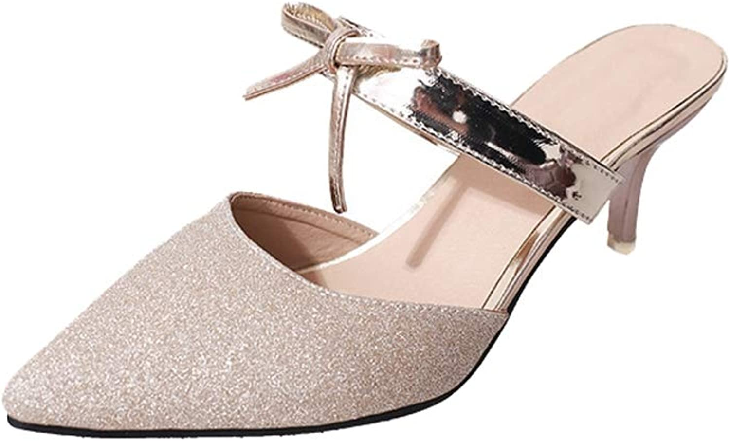 Phil Betty Women's Pumps,Closed Toe Sequined Ribbon Purple Silver Summer Sandals