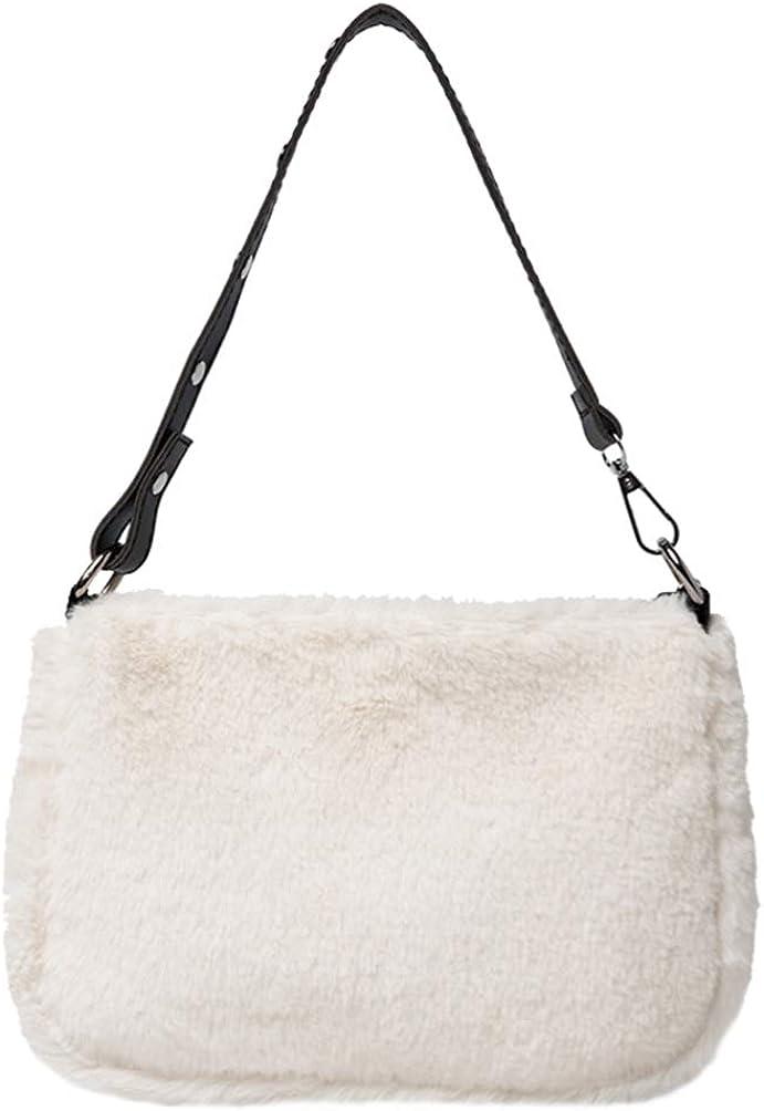 VALICLUD Hobo Bag Faux Fur Shoulder Bag Top Handle Satchel Tote Handbag Plush Purse for Women