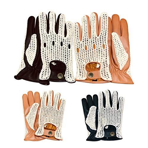 Prime Leather Neuf English Classic Cuir Véritable Hommes Gants De Conduite Crochet Lacets dans Le Dos Chauffeur Vintage Style Tendance 506 & 509 - Bru