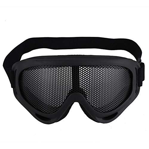 Tactics Gafas de Malla Gafas de Sol de Acero al Carbono Sombreros de Media Cara para Exteriores CS Juego Caza Paintball(Negro)