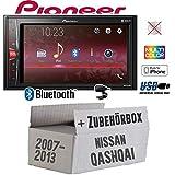 Autoradio Radio Pioneer MVH-A210BT - 2-DIN Bluetooth | MP3 | USB | - Einbauzubehör - Einbauset für Nissan Qashqai (J10) bis 2013 - JUST SOUND best choice for caraudio