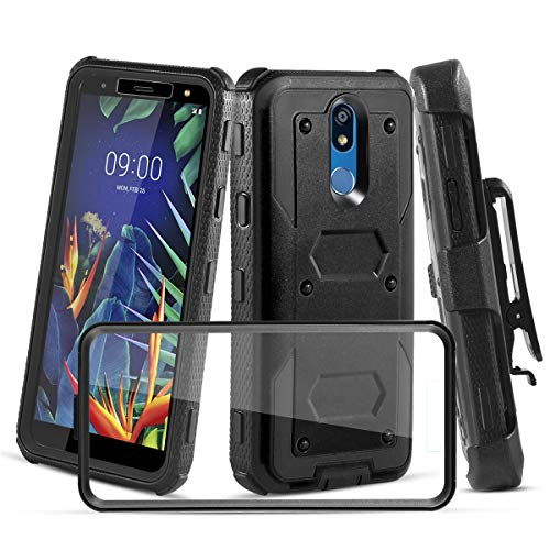 CaseTank for LG K40 Case, LG Solo LTE(L423DL) Case, LG Harmony 3,LG K12 Plus/LG X4(2019) /LG LMX420 /LG Xpression Plus 2 W [Built-in Screen Protector] Protective Armor Holster [Kickstand], Black