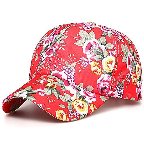 NJJX Frühlingsdruckkappe College-Stil Baseballkappe Weibliche Kappe Mit Sonnencreme 55-60Cm Carmine