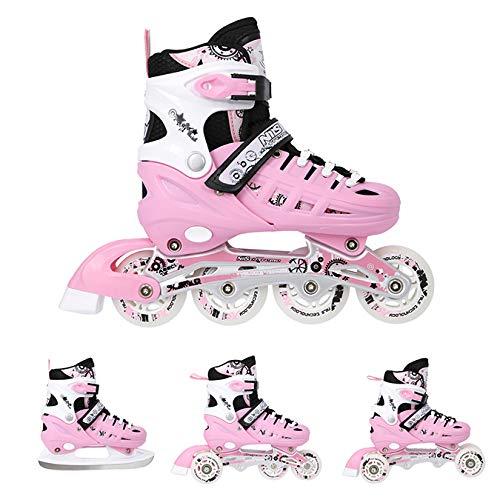 Nils Inlineskates Rollschuhe Schlittschuhe # 4in1 verstellbar Inline Skates EIS Sport Hockey Mädchen & Junge & Damen NH10905 (Rosa, L (39-42))