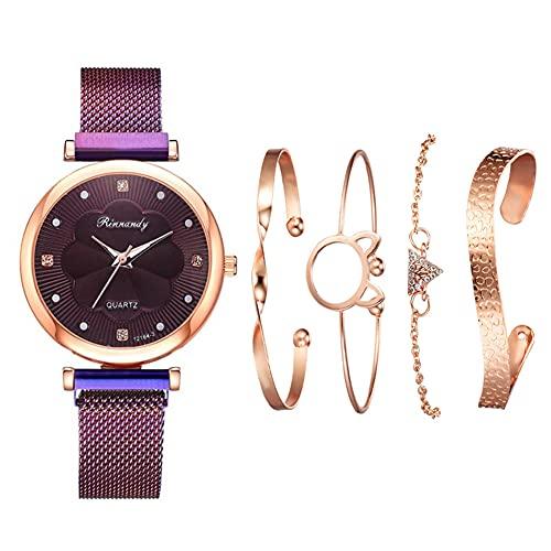 qwert Reloj de Cuarzo para Mujer Reloj analógico para Mujer con Correa de cerámica Reloj de Moda para Mujer Reloj de Pulsera para Mujer,Púrpura