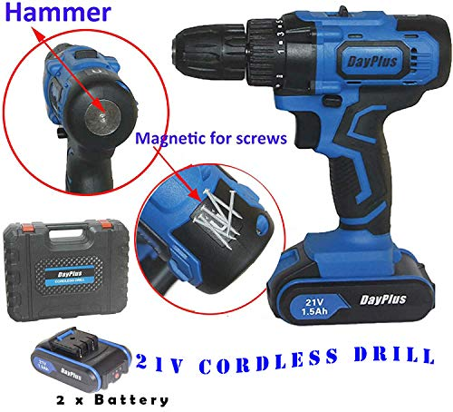 1400rmp Strong Power Cordless Drill with 2 Batteries, 3/8 inch Keyless Chuck, 18+1 Torque Setting With Value package 29pcs Screw Driver Set and Hammer & Magnet Function that is the Best Tool