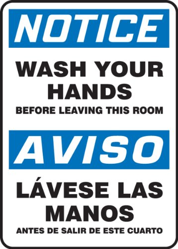Accuform SBMRST803VP Plastic Spanish Bilingual Sign, Legend 'NOTICE WASH YOUR HANDS BEFORE LEAVING THIS ROOM/AVISO LAVESE LAS MANOS ANTES DE SALIR DE ESTE CUARTO', 14' Length x 10' Width x 0.055' Thickness, Blue/Black on White