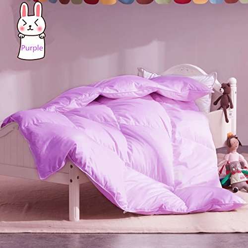 ROSE FEATHER Toddler/Travel/Crib Goose Down Comforter Duvet/Blanket Multifunctional100% Organic Cotton Hypoallergenic amp Washable Unisex KidsAll SeasonPurple 35x44