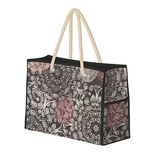 Bolsas de playa para mujer Happy Go Lucky Boho, mantas de madera, gran playa, bolsa de viaje, bolsa de almacenamiento, bolsa de semana, bolsa de hombro, para playa, viajes, gimnasio, etc