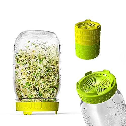 Sprouting lids, Plastic Sprout Lid Screen for Wide Mouth Mason Jars, Germination Kit Sprouter Sprout Maker with Stand Water Tray Grow Bean Sprouts, Broccoli Seeds, Alfalfa, Salad