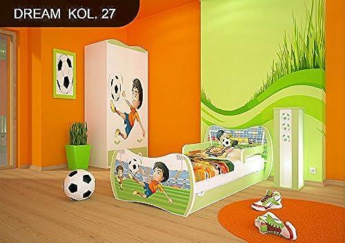 DM Kinderbett Grün mit Matratze Bettkasten und Lattenrost für Jungen mädchen (160x80cm  , DM27 FußballSPIELER)