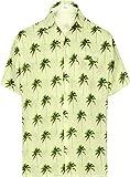 HAPPY BAY Bolsillo Delantero Palmera Camisa Hawaiana Vacaciones de los Hombres Crema_AA272 L